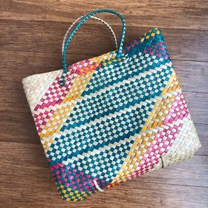 Handbags - Multicolor woven straw tote bag